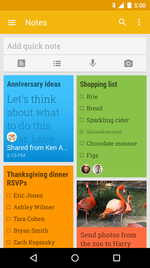 Google Keep - notes and lists - screenshot