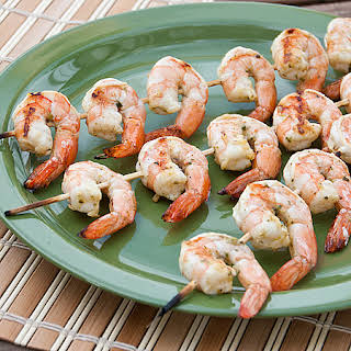 Grilled Pesto Marinated Shrimp.