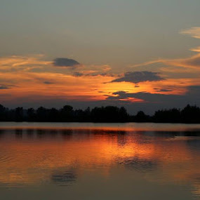 Sunset over the lake. by Mark Milham - Landscapes Sunsets & Sunrises