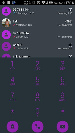 Dialer theme Droid L Purple