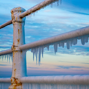 Ice Ice Baby by Adrian Ioan Ciulea - Buildings & Architecture Architectural Detail ( fence, sky, winter, ice, rusty, rust )