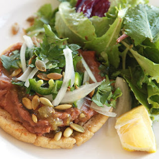 Vegan Sopes with Refried Beans and Salsa Verde