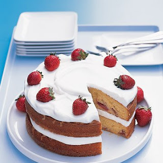 Strawberry Cake with Whipped Cream.
