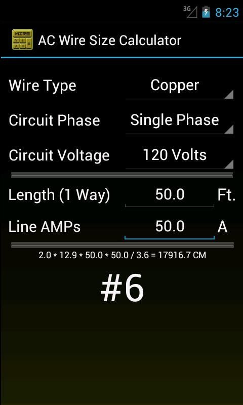 Pretty wire size chart 9 ideas electrical circuit diagram ideas wire size calculator android apps on google play keyboard keysfo Images