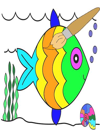 สมุดระบายสีปลาในทะเล