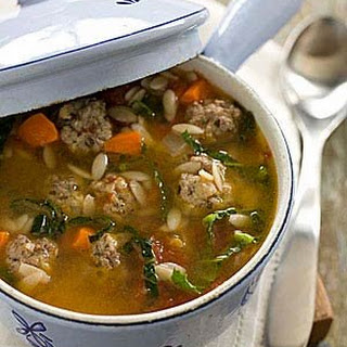 Italian Wedding Soup with Carrots, Orzo and Meatballs
