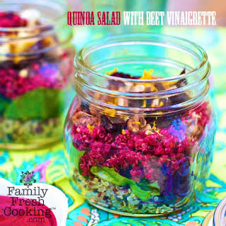 Layered Quinoa Salad with Beet Vinaigrette.
