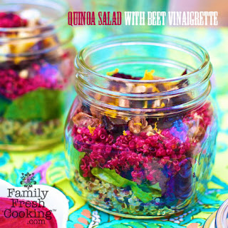 Layered Quinoa Salad with Beet Vinaigrette.