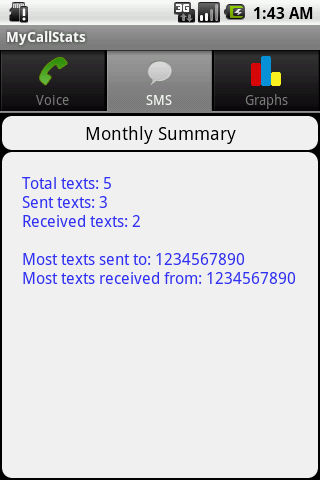 MyCallStats - screenshot