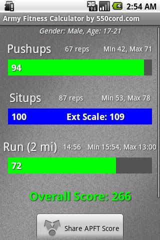 Army Fitness Calculator - screenshot