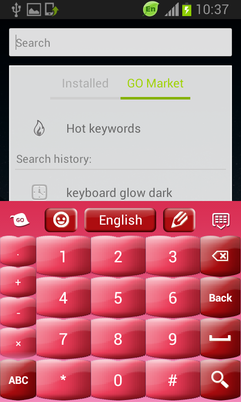 Pink Keyboard Hearts Glow - screenshot