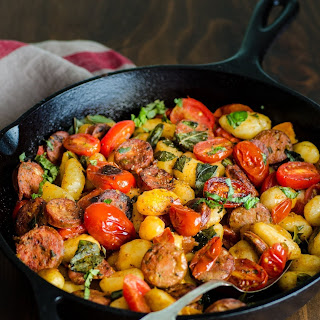 Gnocchi Skillet with Chicken Sausage & Tomatoes.