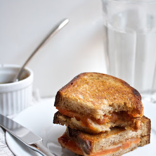 Roasted Sweet Potato & Fig Grilled Cheese with Balsamic Reduction.