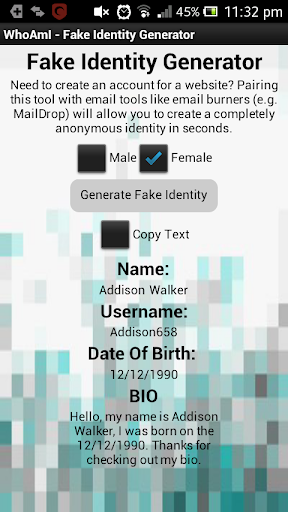 WhoAmI - Identity Generator