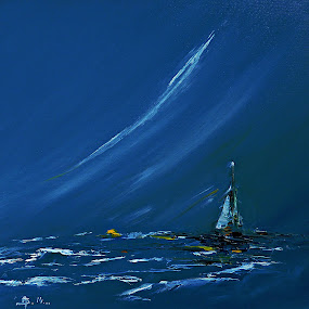 Summer Dream by Amas Art - Painting All Painting ( blue, summer, sea, seaside, boat, painting, oil )