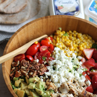 Summer Chicken Chopped Salad with Strawberries, Avocado + Feta.