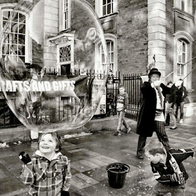 Bubble Town by Sue Bernhard - Smith - Black & White Street & Candid ( black and white, street, bubbles, fun, photography,  )
