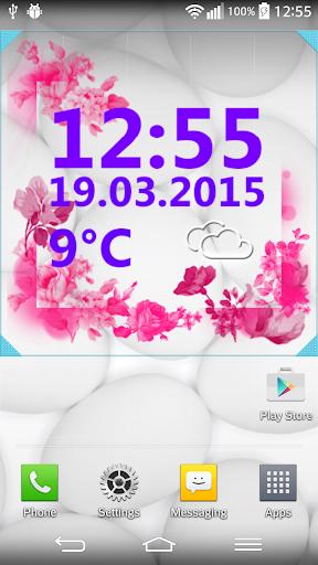 粉紅色的 時鐘 和 天氣小工具