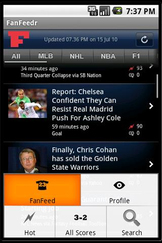 FanFeedr: Personal sports news - screenshot
