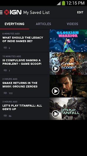 Screenshot 3 for IGN's Android app'