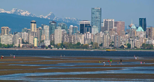 low-tide-view-of-skyline-Vancouver-British-Columbia-1 - Vancouver, British Columbia, skyline at night