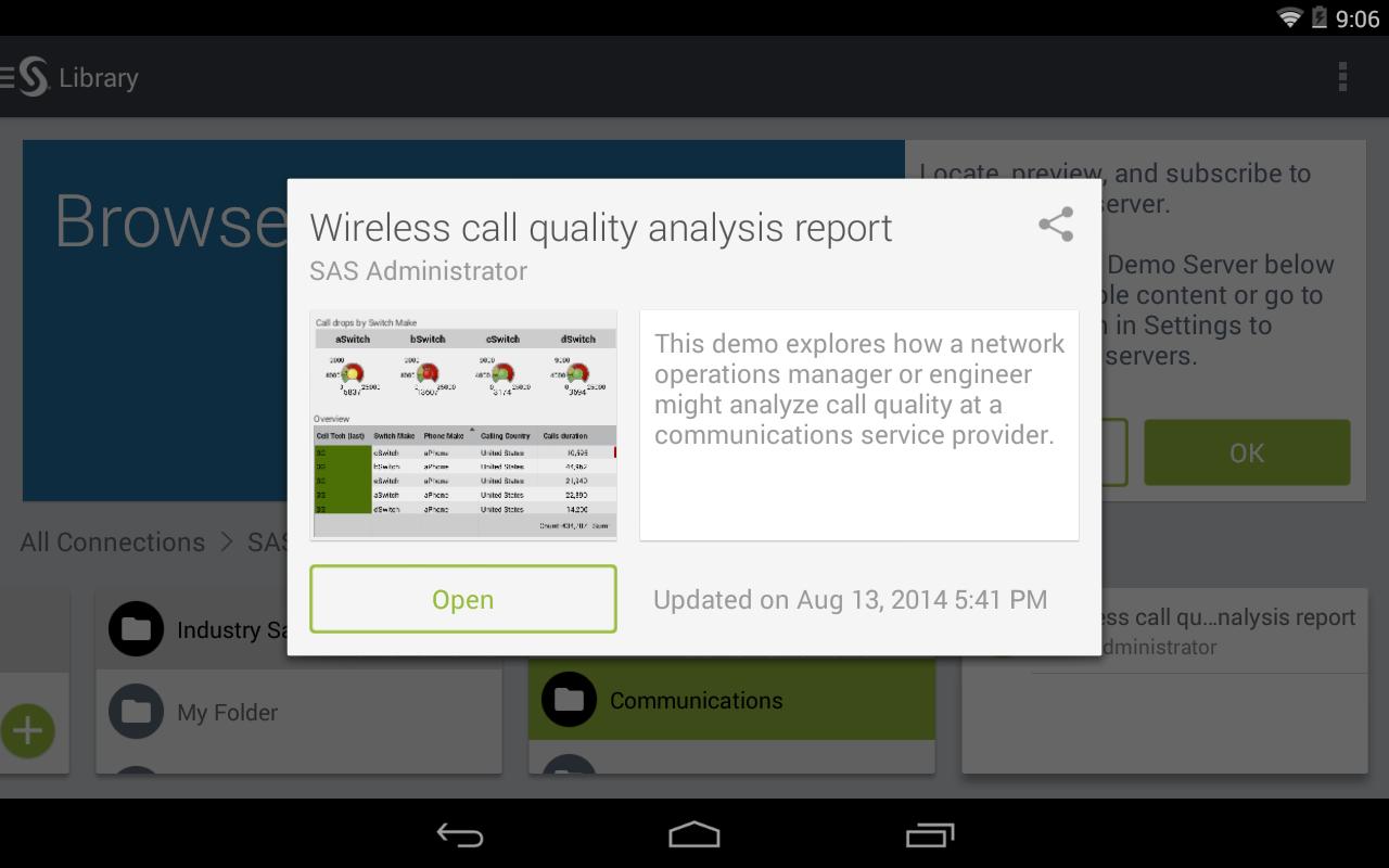 SAS® Mobile BI - screenshot