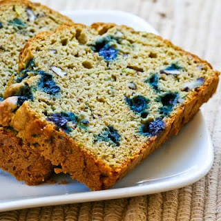 Low-Sugar and Whole Wheat Zucchini Bread with Blueberries and Pecans.