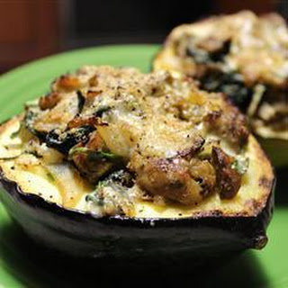 Baked Acorn Squash With Stuffing.
