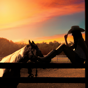 A Girl And Her Horse - by Shawnessy Ransom Photography © 2014 by Shawnessy Ransom - People Portraits of Women ( cowboy hat, silhouette, sunset, texas, horse, cowgirl, texan, old west, senior portraits, shadows )