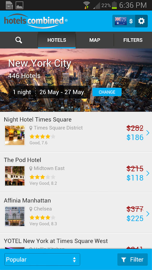 HotelsCombined - Hotel Search - screenshot