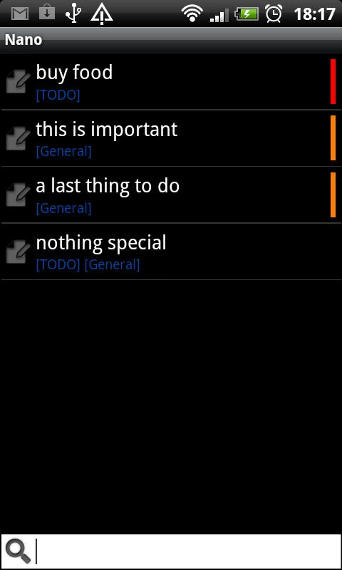 Nano note list and todo list - screenshot