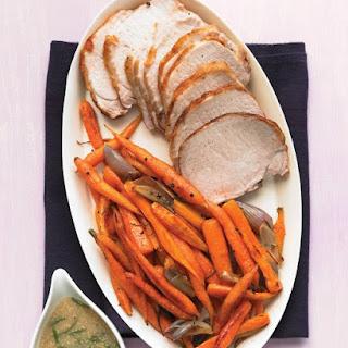 Roast Pork Loin with Carrots and Mustard Gravy.