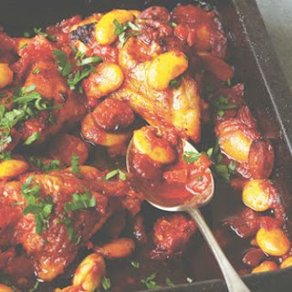 Slow-cooked Spanish chicken with chorizo.