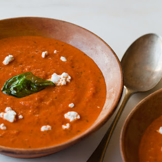 Creamy Roasted Tomato & Basil Soup.