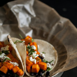Sriracha Marinated Butternut Squash and Black Bean Tacos.