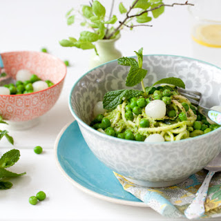 Sweet Pea & Pearl Onion Pesto smothered Zucchini Noodles