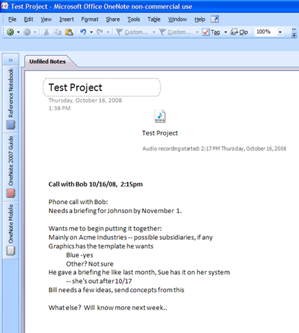 Using OneNote for a GTD project |