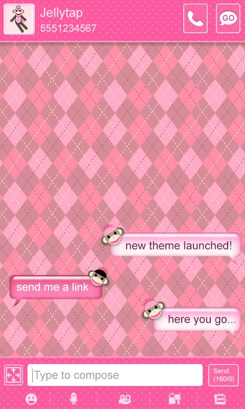 Sock Monkey Pink Go SMS Theme - screenshot