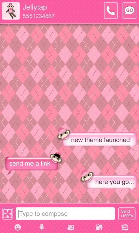 Sock Monkey Pink Go SMS Theme - screenshot