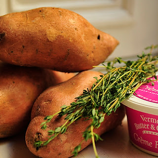 Mashed Sweet Potatoes with Crème Fraîche and Herbs.