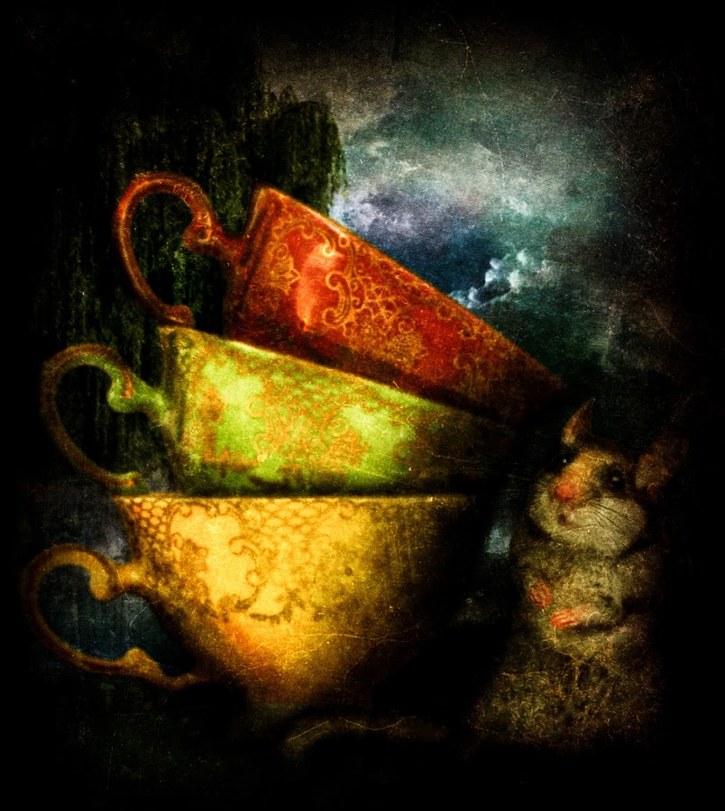The Dormouse by Tina Bell Vance - Illustration Sci Fi & Fantasy ( fantasy, dormouse, wonderland, illustration, teacup )