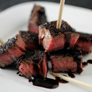 Coffee and Chipotle-Rubbed Steak Kabobs with Stout Molasses Pan Sauce.