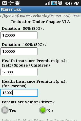 Pfiger Tax Calculator- screenshot