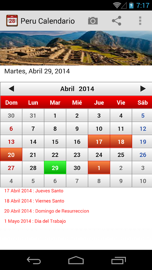 Peru calendario 2015 android apps on google play for Horario peru wellness