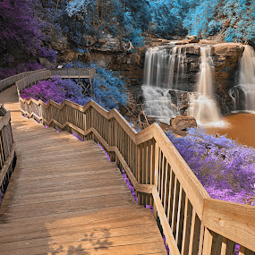 Inca Summer Blackwater Falls by Nicolas Raymond - Digital Art Places ( wood, rock, vibrant, wide-angle, flow, leaves, colour, colourful, fluid, nature, movement, pink, surreal, black, art, steps, somadjinn, passageway, blackwater falls state park, scene, trees, appalachian, lines, stream, america, vivid, waterfall, corridor, plank, allegheny, usa, digital, fantasy, epic, stairs, streaming, water, planks, purple, park, ethereal, cascades, railings, cyan, magenta, manipulated, wide angle, falls, background, vibrance, cascading, scenery, stones, railing, dreamy, stone, architecture, travel, passage, foliage, blackwater falls park, motion, orange, colors, white, blackwater, forest, tourism, canaan valley, united states, colours, staircase, waterscape, colorful, rocky, landscape, curves, stairway, fresh, path, rapids, long exposure, rocks, photomanipulation, hdr, flowing, stairwell, west virginia, scenic, inca, manipulation, wooden, blue, color, cascade, violet, summer, brown, appalachians, river,  )