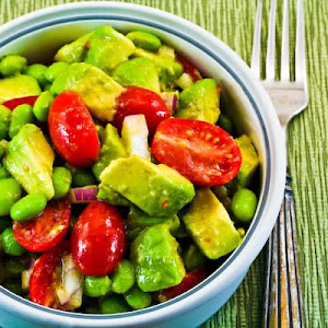Avocado, Tomato, Edamame, and Red Onion Salad with Cumin-Lime Vinaigrette