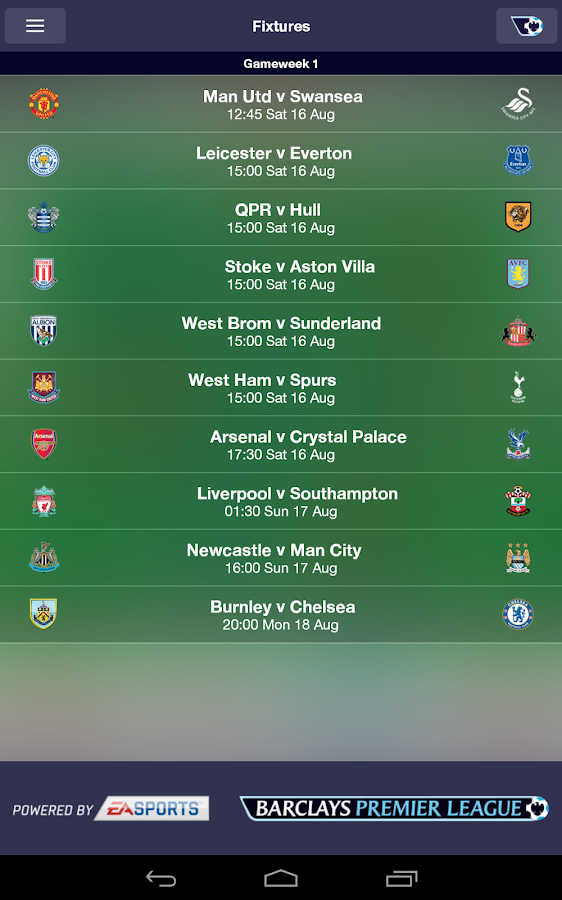 Fantasy Premier League 2014/15 - screenshot