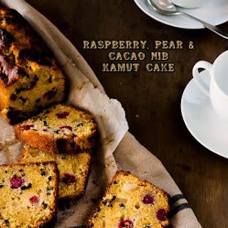 Raspberry, Pear and Cacao Nib Kamut Cake
