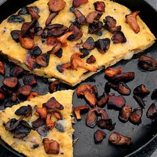 Melted Cheese Frittata with Four Kinds of Mushroom.