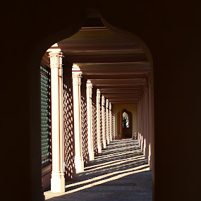 Colonades by Birgit Vorfelder - Buildings & Architecture Public & Historical ( palace garden schwetzingen, colonades, shadow play, schwetzingen, sunbeams, mosque, mosque garden,  )
